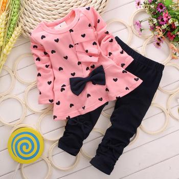 Девочка комплект одежды в форме сердца печать с бантом симпатичные 2 шт. ткань комплект ...