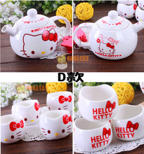 Funny hello cat tea sets one pot four cups teapot cat drinkware mugs coffee tea sets