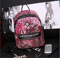 Fashion Travel Backpack rivet tiger leopard grain backpack Korean punk Tide female bag High quality , famous Backpack