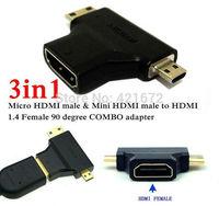 3 in 1 1080P 1.4V Micro HDMI / Mini HDMI Male to HDMI Female Adapter Connector COMBO adaptador for Cable HDTV DVD PS3 Free Ship