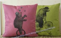 NEW!  Circus Bear to ride bicycle Linen pillow cushion cover Cute Bear cushions pillowcases Pillow HOME Decorate sofa cushions