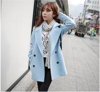 Women Autumn Winter Casual Solid Long Woolen Blend Coat New 2014 Single Button Long Sleeve European Style Outerwear
