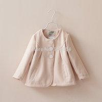 new 2014 spring autumn kids jackets girls clothes children round neck princess coat baby woolen outerwear