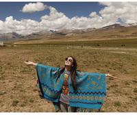 Ethnic AUTUMN WINTER Women's poncho Fashion Woolen Coat Ladies' Noble Elegant  Turquoise Pashmina / Shawl wrap scarves