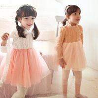 New Arrival 2014 Girls sweet sweater dress winter warm dress long sleeve Kids cotton dress for Autumn&winter Children clothing