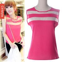 Ctrlstyle new chiffon shirt Solid Big Size Stitching transparent sleeveless chiffon vest  women Clothes Casual vestidos S-XL