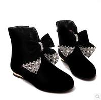 2015 Big size 34-43  Hot Fashion Autumn Boots Rhinestone Bow Decoration Sexy Beautiful Half Knee High Boots Hidden Wedge Shoes