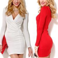 FREE SHIPPING 2014 Elegant Ladies' V-Neck Celebrity Pencil Dress Women Wear to Work Slim Bodycon Dress White Red X/M/L/XL