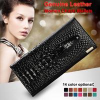 Genuine Leather Women Wallets Crocodile 3D Women Clutch Wallets Alligator Embossed Leather Long Pure Fashion w/ 14 Color HB-180
