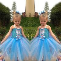 HOT Design fashion Frozen Dress cartoon girl elsa costume summer spaghetti strap princess dresses lovable tutu girl's dress A157