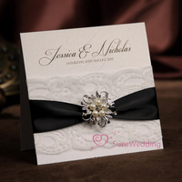 New Arrival! Wedding invitations,  wedding cards, NK-254, with RSVP and envelope and a real brooch can wear , free shipping
