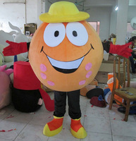 New christmas orange ball in the yellow hat mascot costume kids party costume