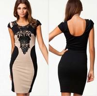 M L XL Plus Size 2015 Spring New Fashion Women Embroidery Patchwork Bodycon Bandage Dress Summer Casual Dress Vestidos Femininos