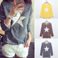 Fanshou Free Shipping 2014 Women Hoody Long Sleeve Pullovers Casual Hoodies Five-Pointed Star Printed Sweatshirts Moleton