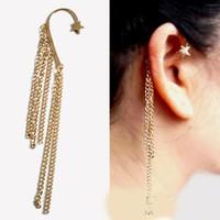 2014 Hot wholesale , Free Shipping 1pcs Punk wind texture golden stars tassel exaggeration ears hang Earrings