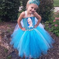 Summer fashion girl wear nova Frozen Dress Elsa anna costume sleeveless Princess  dresses for girls Brand Children Clothing A154