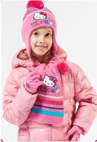 2014 New children hat children 3pcs baby hat set hello kitty cute scarf+hat+gloves winter warm girls hat sets 591A