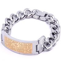 Brand design Bangles 316L steel bracelet punk retro gold chain bracelet gothic twist Scripture nameplate silver jewelry gift