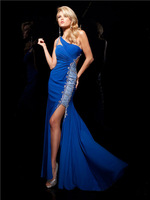 Newest long mermaid one shoulder backless with slit beaded royal blue white watermelon red chiffon party gown prom dresses 2014