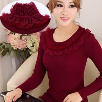 Autumn and winter sweater female slim lace turtleneck pullover basic sweater female medium-long plus size long-sleeve sweater