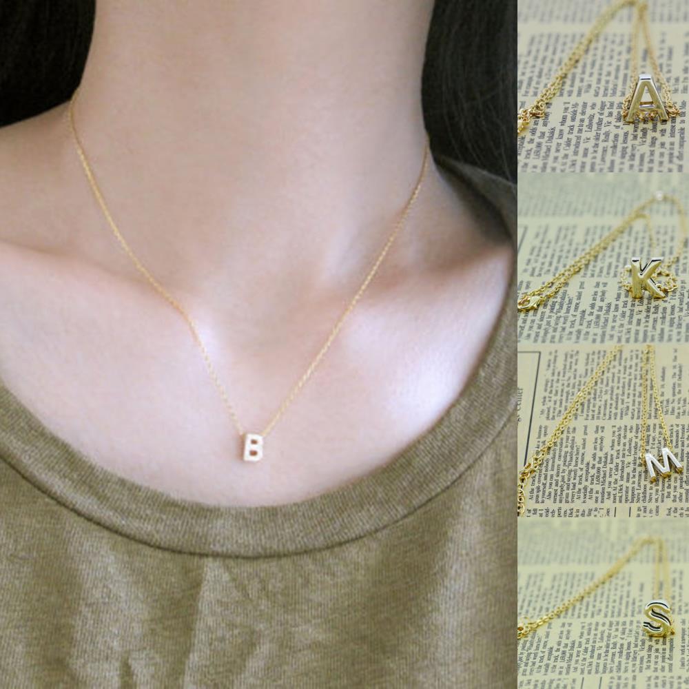 Gold Letter Charm DIY Name Pendant Necklace Women Simple Necklace vintage chian necklace jewelry