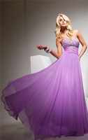 Newest long a line sweetheart crystal beaded lilac chiffon evening party gown prom dresses 2014