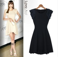 Spring summer dress 2015 new brand fashion women Slim lotus sleeve round neck chiffon sexy party dress vestido de festa