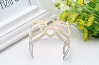 Fashion Punk Metal Frosted Open Bangle Hollow Out Bracelet For Women