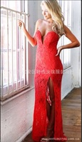 2014 latest big V-neck sexy lace slit dress Bra vestido casual dress