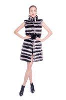 BG80159 Hot In Winter Genuine Rabbit Fur Long Vest For Women Stripes Warm Fus Gilet Plus Size Free Shipping