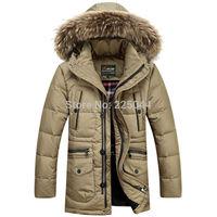 2014 New Men's Long Winter Trench Fur Collar Coat Jacket Hooded Parka Overcoat