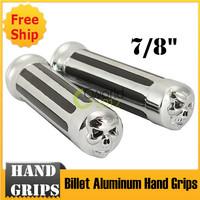 """New Skull 7/8"""" Chrome Billet Aluminum Hand Grips for Motorcycle"""