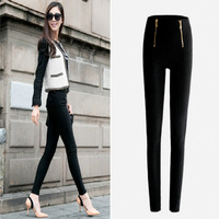 2014 new Lady Zip Pencil Pants Women High Waisted Slim Stretch Leggings Trousers Free Shipping On Sale 11 Nov