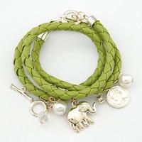 Many elements of fashion all-match Elephant Pendant woven Bracelet