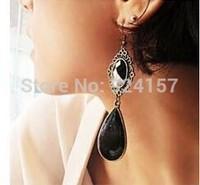 Popular retro gem earrings earrings exaggerated black droplets boast