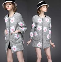 New Fashion Winter Coat 2014 Women Appliques Flower Patch Design Casual Warm Woolen Outerwear Ladies Outdoor Coat Grey Color