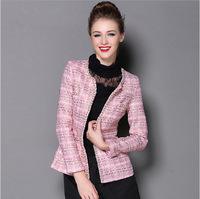 Women Jackets 2014 Autumn Fashion Ladies Small Pink Long Sleeve Short Outerwear Wholesale