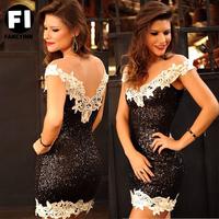 Fancyinn Summer Dress 2014 Elegant Vestidos white lace floral black Sequins Sexy Casual Dresses Brand Cocktail Party Women Dress