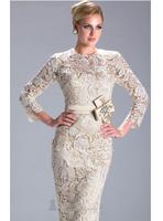 Qiu dong gold beaded Jennifer lopez red carpet long-sleeved knee-length skirt Vestidos evening dress