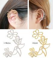 Fashion Boutique Pierced Flowers Clip Earrings Rhinestone U-shaped Ear Clip Ear Bones Clip Earring Jewelry For Women