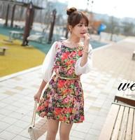 2014 summer new Korean women plus size sweet floral chiffon dress lace flower dress summer dress  women chiffon puff sleeve