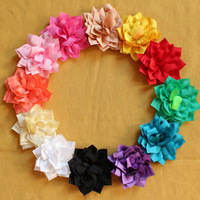 3'' Dahlias flower Kanzashi fabric baby hair flower without accessory center,12 colors in stock!Free shipping!BF021
