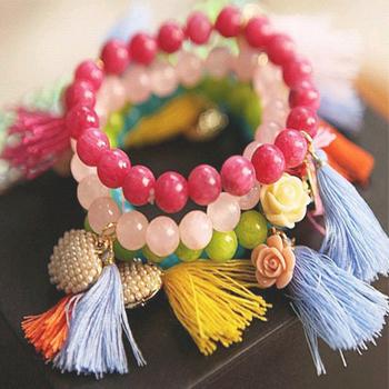 Tassels bracelet retro bohemia seven color figure love heart flower simulated pearl bracelets bangles for Women