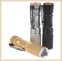 Mini 600LM CREE XP-E R5 LED Flashlight Waterproof 3 Mode Zoomable Torch Light With Black / Golden / Silver  3 Optional Color