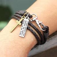 2015 Fashion Leather Jewelry, Fashion Elegant Leather Bracelet Man Punk Mountaineering Buckle Bracelet Free Shipping