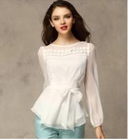 Free Shipping New 2014 Women Lace long sleeve Chiffon blouse Embroidery Shirt size S-XXL