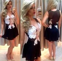 2014 new chest white lace dress sexy transparent mesh stitching sleeveless V Neck Party dress vestidos free shipping