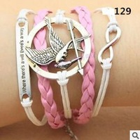 L0129 Hot New Fashion Girl Jewelry Vintage Hunger Games Love Metal Leather Bracelets Multilayer Rope Bangle Wholesale