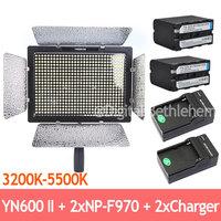 YONGNUO YN600 II 3200k-5500k 600 LEDs Video Light +2 x 6600mAh NP-F970 & 2pcs Charger