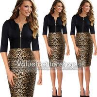 Hot! 2014 New Women Sexy Leopard Dress Summer Autum Stitching Slim Pencil High-waist one piece Vitage Working Wear S-XXL